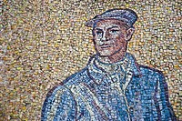 Mosaic with man in wall astronomical clock, Olomouc city _ Czech