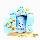 A illustration of a can with a recycling sign