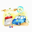 A illustration of a day off for car usage for energy save