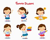 A illustration of female student in different position and emotions