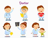 A illustration of doctor in different position and emotions