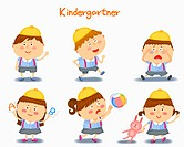 A illustration of kindergartner in different position and emotions
