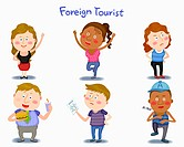 A illustration of foreign tourist in different position and emotions