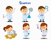 A illustration of scientist in different position and emotions