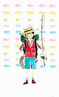 A illustration of a man with fishing equipments