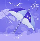 A illustration of an umbrellas under a sunny day