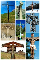 Collage of Jesus crosses
