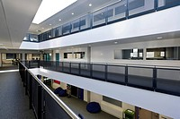 Strood Academy, Strood, United Kingdom. Architect: Nicholas Hare Architects LLP, 2012. Interior showing circulation space between classrooms.