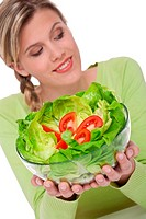 Healthy lifestyle series _ Woman with lettuce