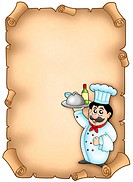 Chef holding meal on parchment