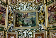 Rich ceiling ornament in a museum of Vatican