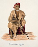 Muslim beggar, 19th_century India. The term ´Mahomedan´ in the inscription is an archaic term for Muslims. This watercolour is plate 67 from one of a ...