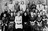 Teachers and pupils in Yuri Gagarin´s first school photograph. Yuri Alekseyevich Gagarin 1934_1968, Russian_Soviet cosmonaut and the first man in spac...