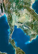 Thailand, satellite image. North is at top. Natural colour satellite image showing Thailand centre and the surrounding territories. The Kingdom of Tha...