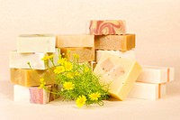 group of handmade soap with herbal material