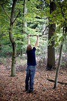 Man standing in a forest