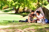 Joyful family camping in the park
