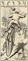 Cycling accidents. 19th century artwork showing the various accidents that could befall the rider of a penny farthing bicycle. The front wheel of penn...