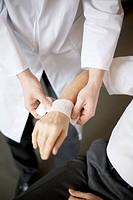 Bandaging a wrist