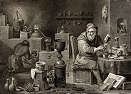18th Century alchemist, historical artwork. Engraving by Jacques_Louis Peree of a painting by David Teniers II, entitled ´L´Alchimiste´ The Alchemist,...