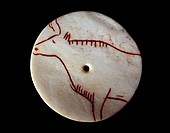 Stone Age Magdalenian bone disc. These objects, decorated with figures of animals, were carvings made on thin discs of bones, often cut from shoulder ...