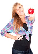 healthy lifestyle _ girl with apple