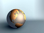 sphere of earth with northern America golden color
