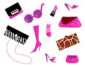 Women icons and accessories _ bags and shoes  pink