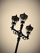 Victorian style street light in city centre of Manchester, UK