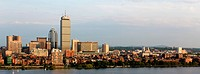 Panoramic view of the Boston, MA riverfront neigborhoods of Back Bay and Brookline, including the landmark Prudential Tower Seen from near Kendall/MIT...