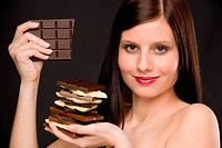 Chocolate _ portrait healthy woman enjoy sweets