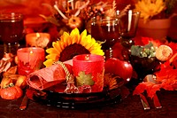 Table setting with autumn decoration for Thanksgiving