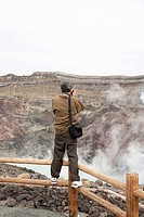 Taking a photo of a volcano