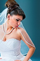 Beautiful bride in studio shooting