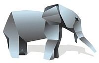 Elephant origami illustration.