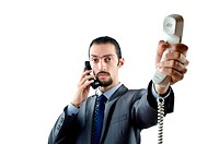 Man with phone isolated on white