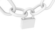 Closed padlock in white