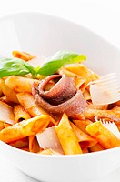 Pasta with tomato sauce and anchovy