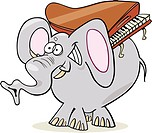 Elephant with piano