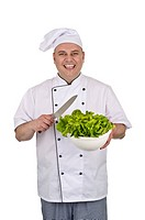 Koch mit einem Salatkopf