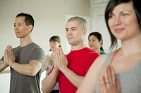 Small group at yoga class