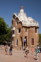 Gatehouse of Parc Gueell by Antoni Gaudi, UNESCO World Heritage Site, Barcelona, Catalonia, Spain, Europe