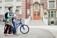 Elementary students riding to school