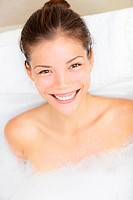 Bath woman smiling happy
