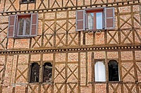 Facade of a half_timbered house, Chatillon sur Chalaronne, department of Ain, Rhone_Alpes, France, Europe, PublicGround