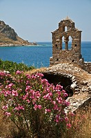 Ruined church on the coast at Limeni, in the Mani peninsular Messinia, Southern Peloponnese, Greece