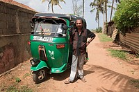 Tuck Tuck driver with his vehicle, Waikkal Village, Sri Lanka