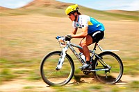ALMATY, KAZAKHSTAN _ APRIL 30: K.Kazantcev N7 in action at Adventure mountain bike cross_country marathon in mountains Jeyran Trophy 2011 April 30, 20...