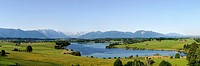 View of lake Riegsee and the Alps as seen from Aidlinger Hoehe, Blaues Land region, Upper Bavaria, Bavaria, Germany, Europe
