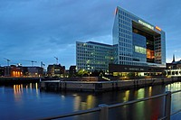 Publishing house of the magazine Der Spiegel, at dusk, Hamburg, Germany, Europe